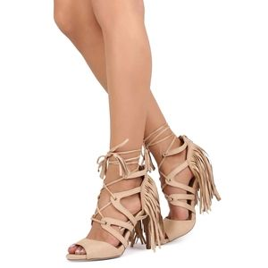 WOMEN'S SUEDE PEEP TOE GILLY FRINGE WRAP SANDALS